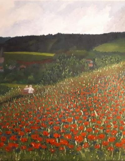 Field with poppy 70 bij 90